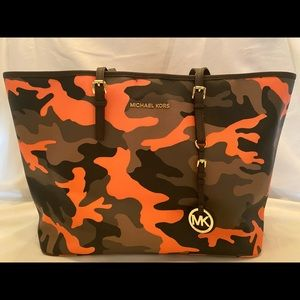 Michael Kors Orange Camo Shoulder Bag/Tote